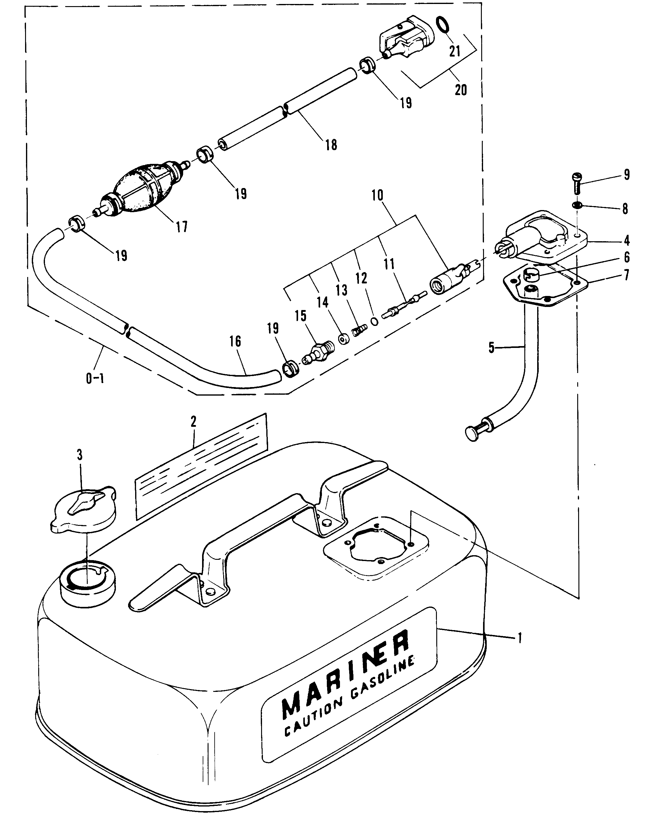 Fuel Tank And Fuel Line Assembly For Mariner Mariner 8