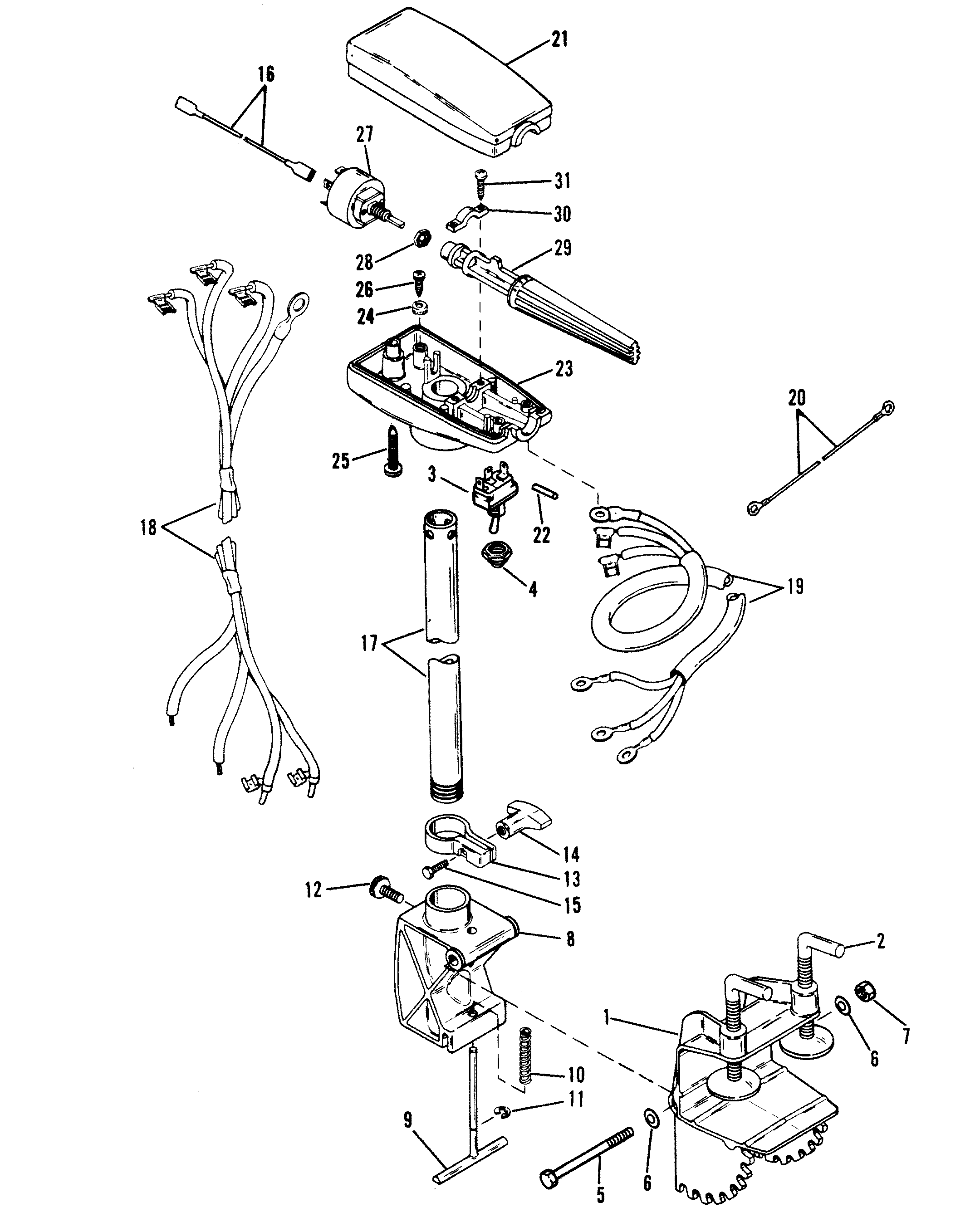 Drive Shaft And Control Housing Tm For Mariner Mercury