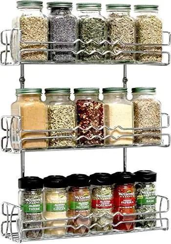 callas 3 tier wall mounted spice rack kitchen organiser chrome ca 67