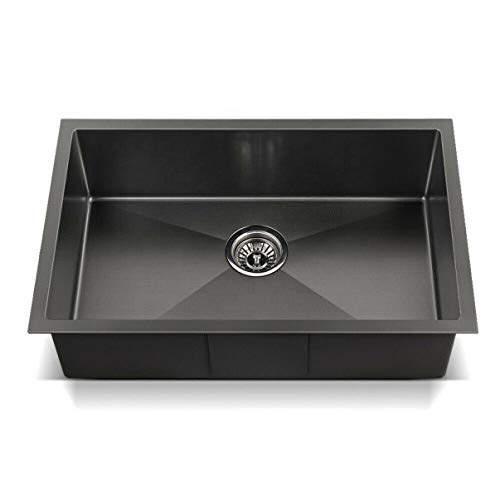 crocodile24 x 18 x 10304 grade black undermount single bowl steel kitchen sink black matt finish