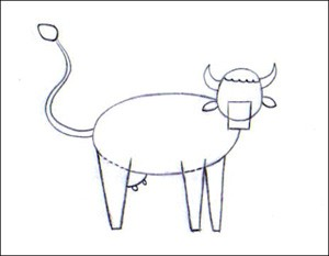 Dessin Crayon Vache Tete De Vache Isolee Sur Fond Blanc