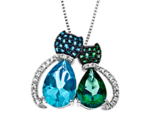 Paraiba Blue and Rainforest Green Topaz Cat Pendant in Sterling Silver