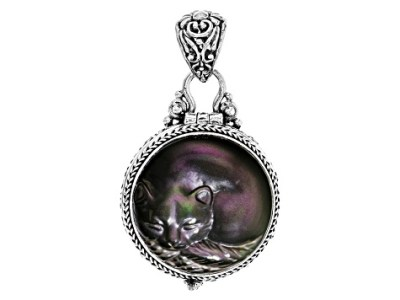 Rainbow Obsidian Silver Carved Cat Locket   SRA1156   JTV com Rainbow Obsidian Silver Carved Cat Locket