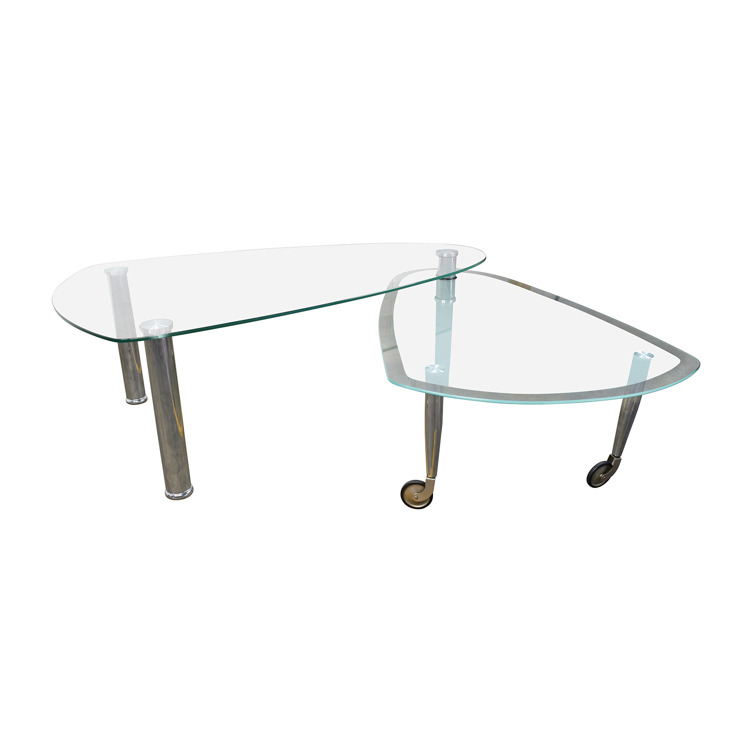79 off triangular rounded glass and chrome table tables