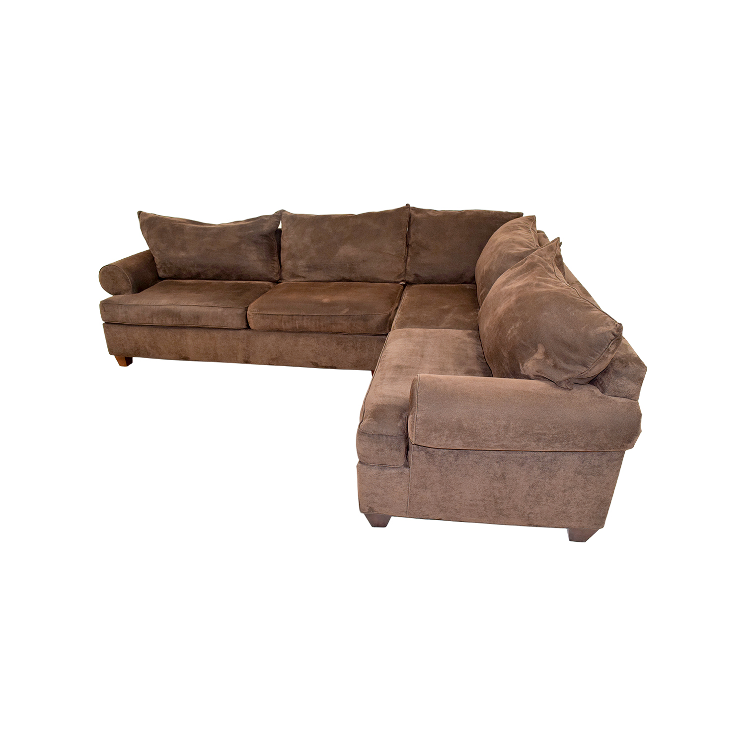 75 off brown corduroy l shaped sectional couch sofas
