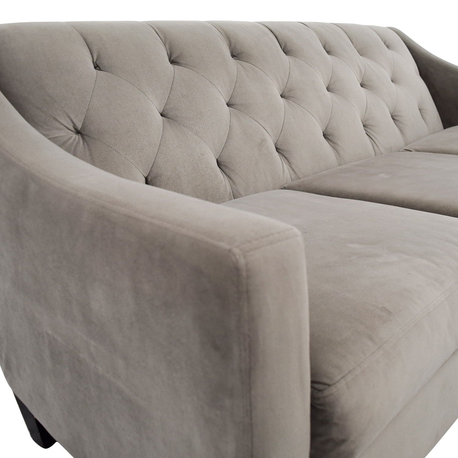 82 Off Macy S Macy S Gray Microfiber Tufted Three Cushion Couch Sofas