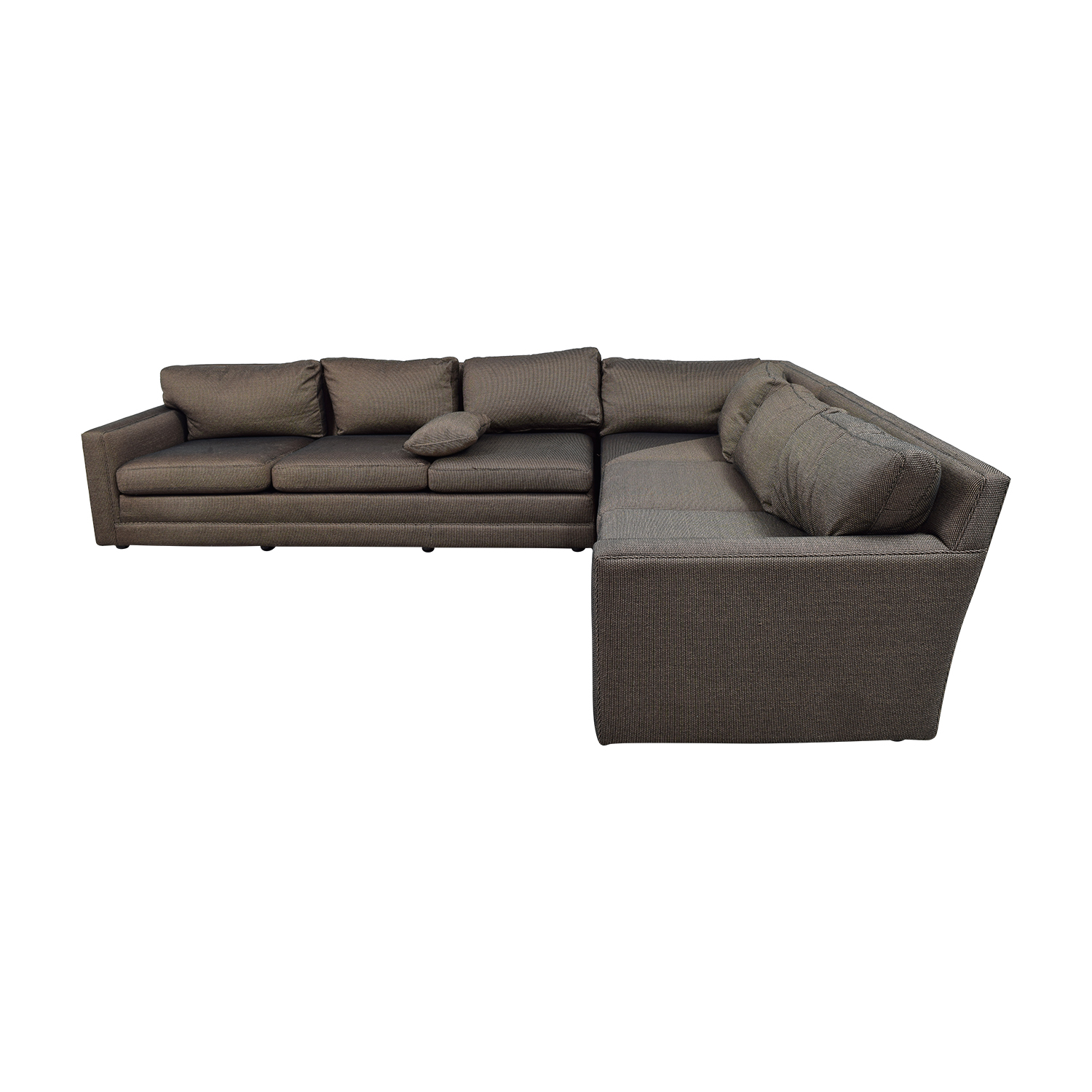 88 off keilhauer keilhauer cascade black and tan tweed l shaped sectional sofas