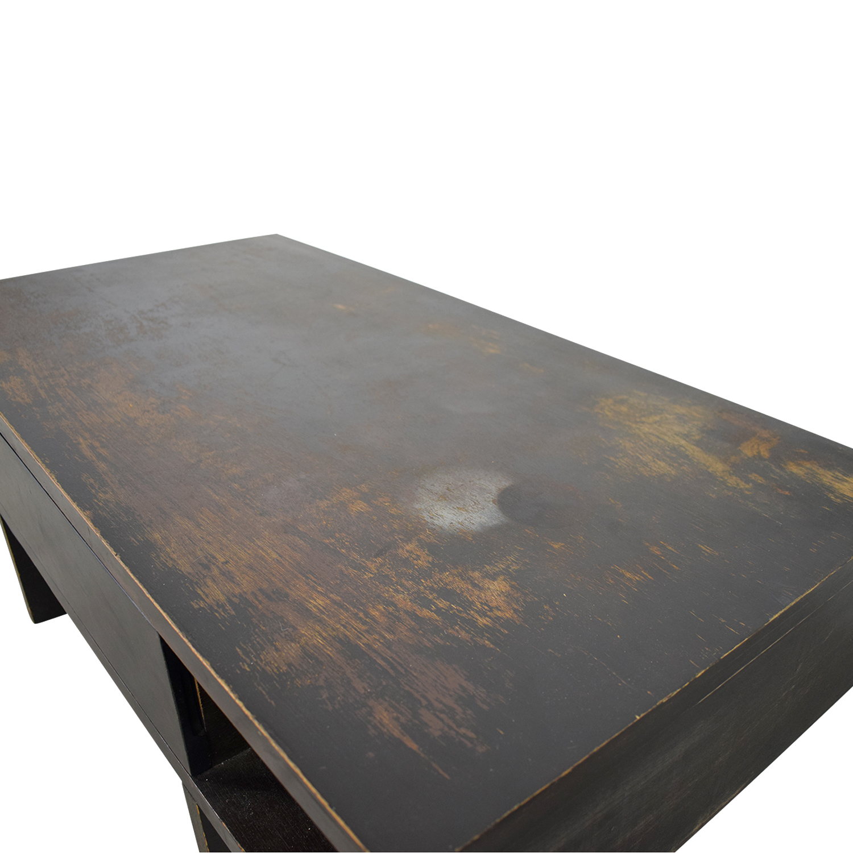 80 off west elm west elm distressed black storage coffee table tables