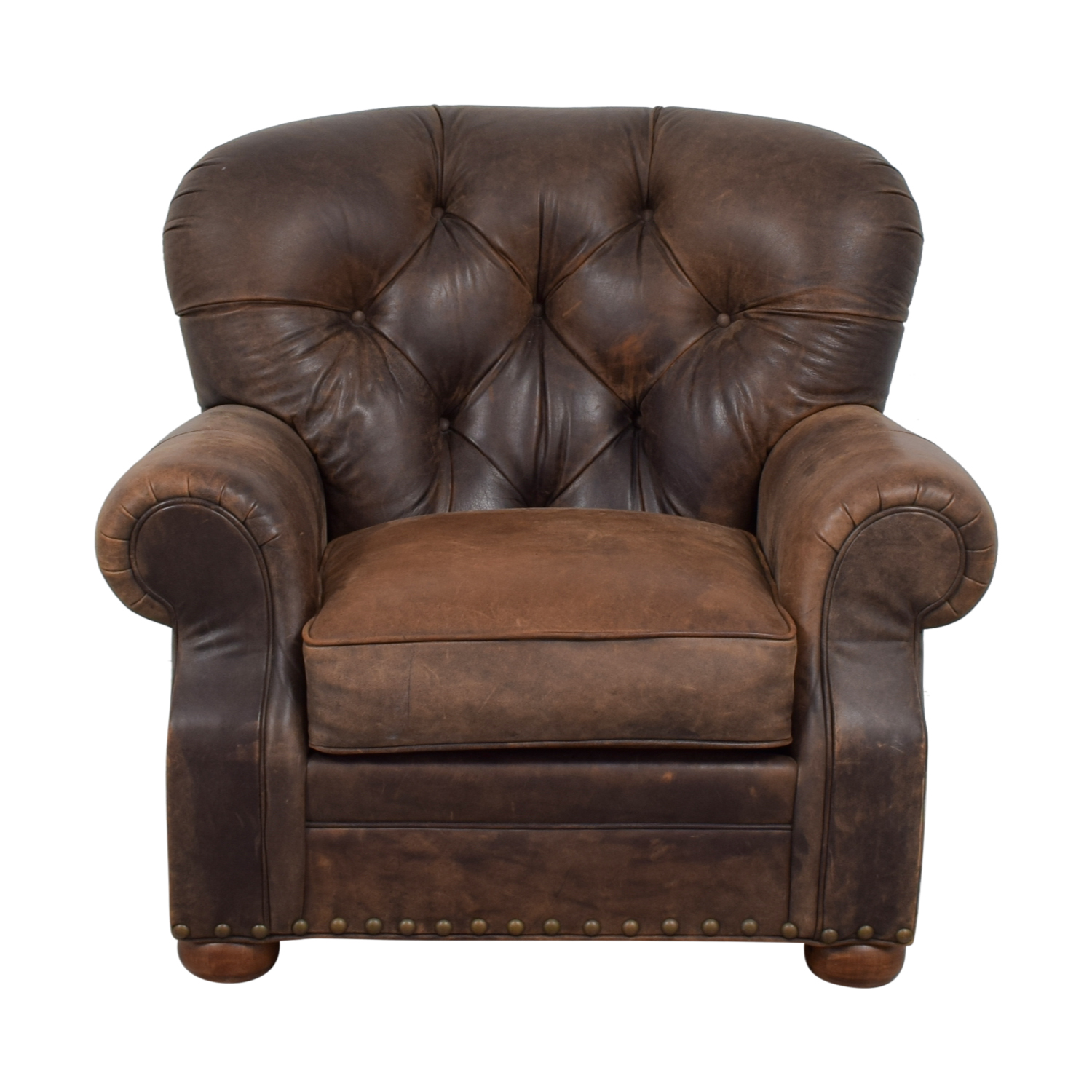 88 Off Restoration Hardware Restoration Hardware Churchill Brown Leather Tufted Nailhead Chair Chairs