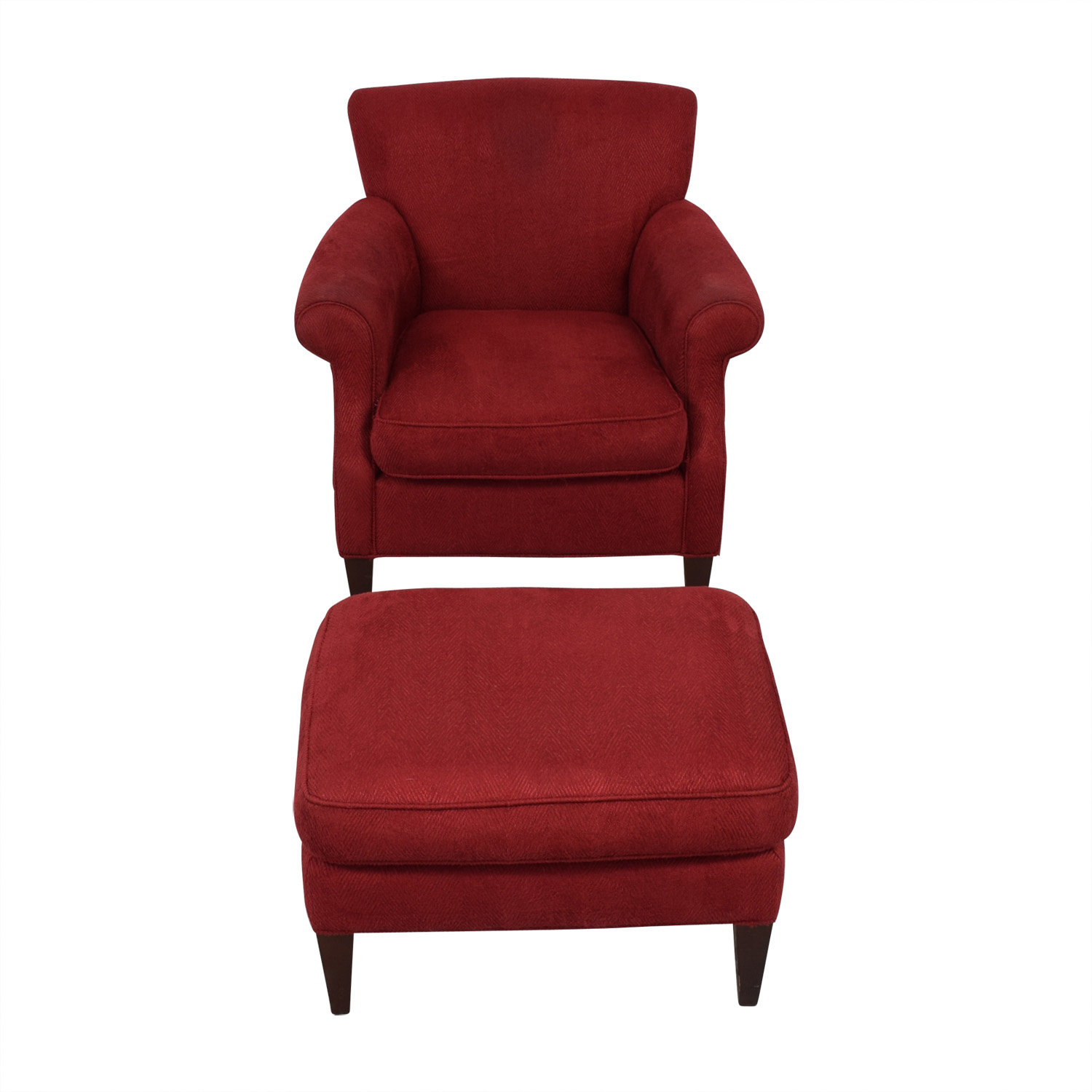 57 Off Crate Barrel Crate Barrel Red Roll Arm Accent Chair And Ottoman Chairs