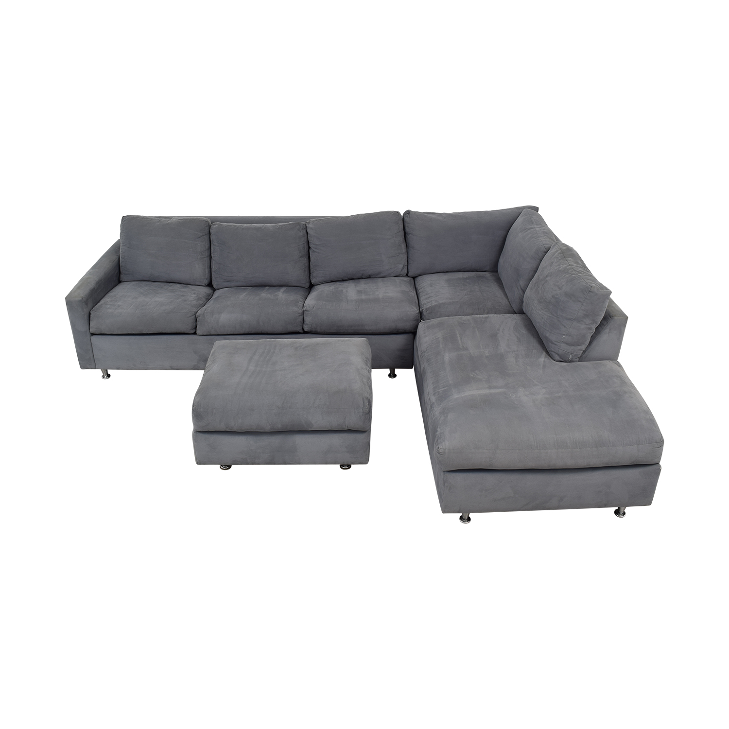 72 off jensen lewis jensen lewis grey ultrasuede chaise sectional with ottoman and queen convertible sofas