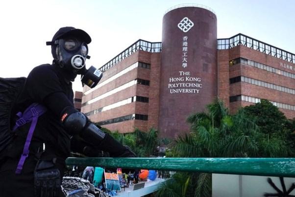 Image result for Biểu tình tại trường đại học Bách khoa, Hong Kong