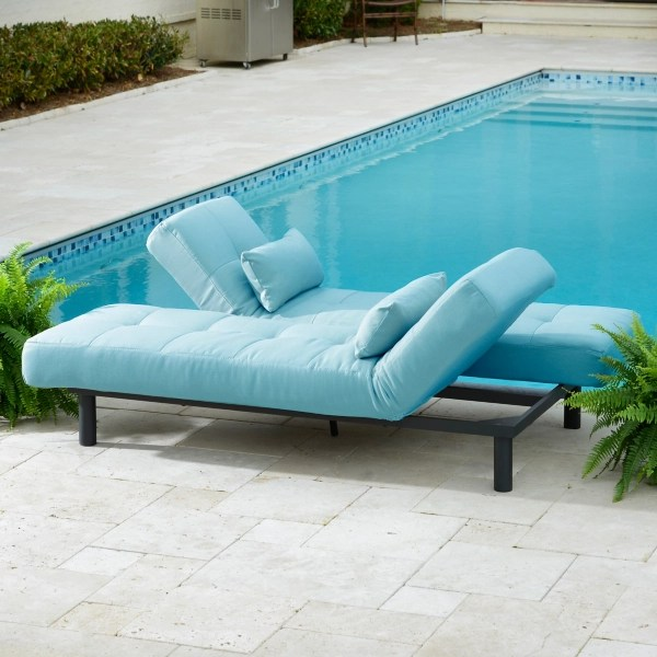 turquoise convertible outdoor chaise lounge