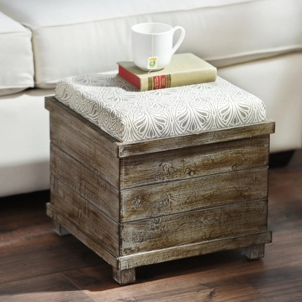 taupe cream reversible tabletop storage ottoman