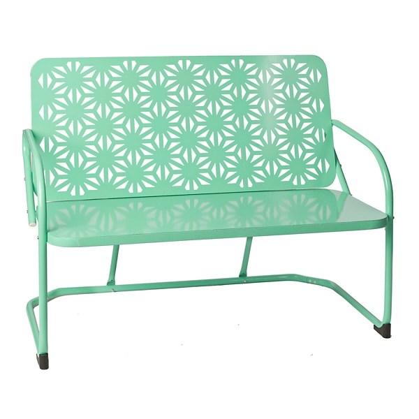 retro turquoise metal bench