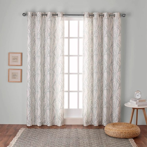 sea foam branches curtain panel set 96 in