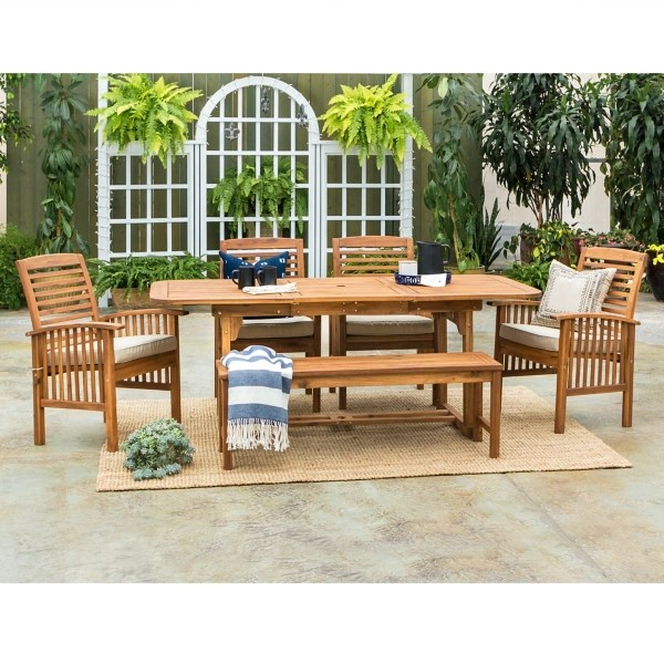 acacia wood outdoor 6 pc dining set
