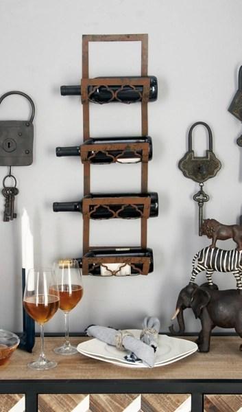 rustic metal wall mounted wine rack