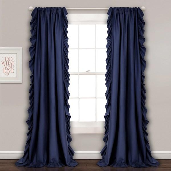 navy reams ruffle curtain panel set 84 in