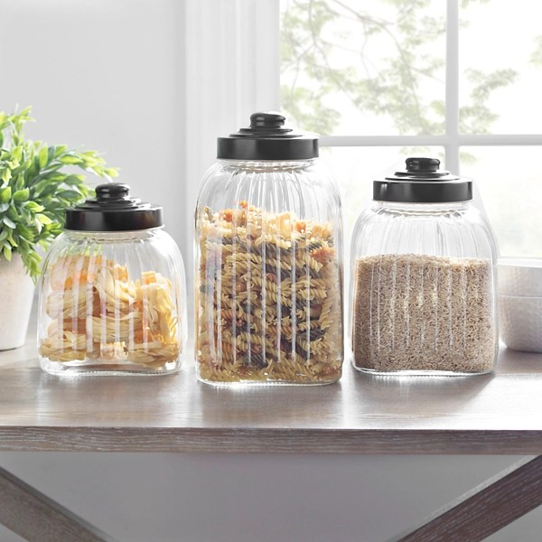 glass column canisters with bronze lids set of 3
