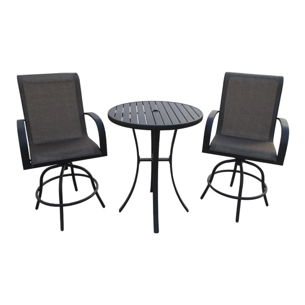 bar height 3 piece patio set with swivel chairs