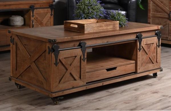 rustic fir wood rolling barn door coffee table