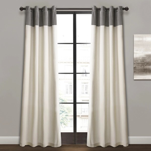 gray and ivory millie curtain panel set 84 in
