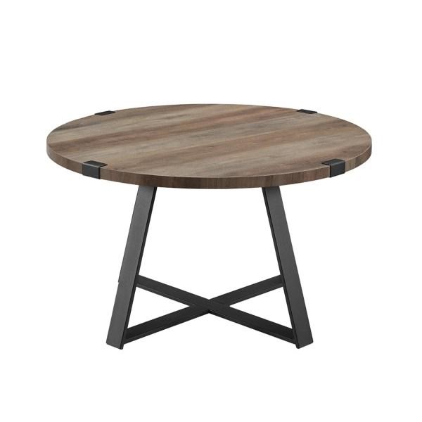 gray urban rustic round coffee table