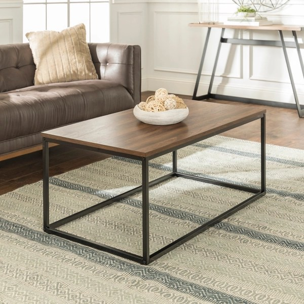 dark walnut modern glam coffee table