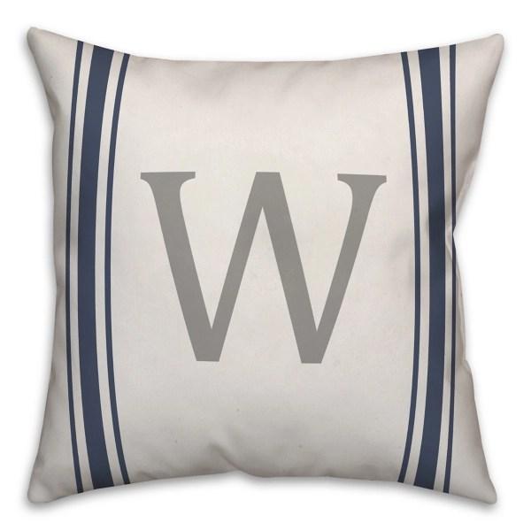 navy farmhouse stripe monogram w pillow