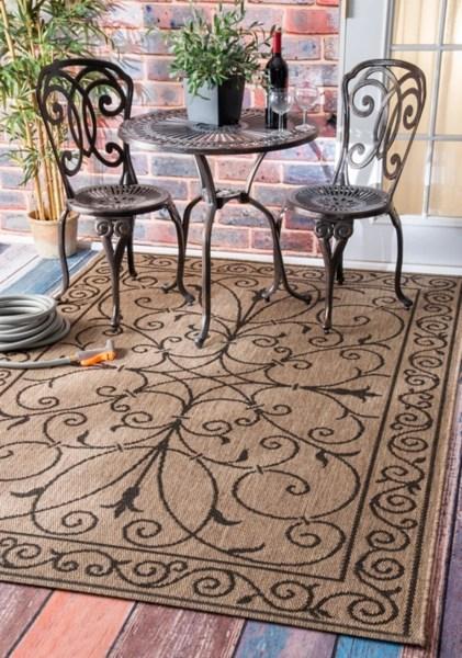 brown kathleen scroll outdoor area rug 5x7