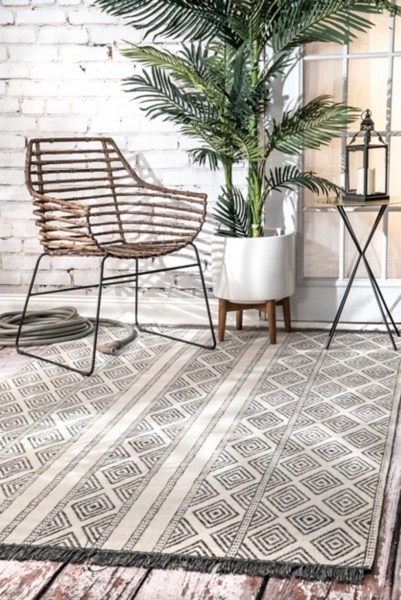 gray miriam striped outdoor rug 8x10