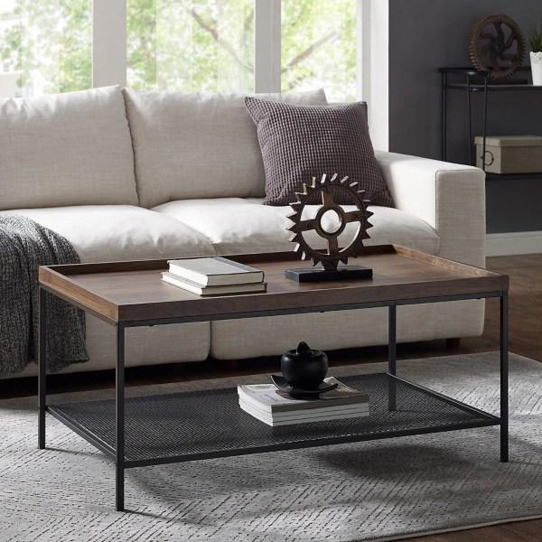 dark walnut industrial tray style top coffee table