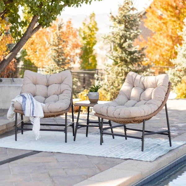 two papasan chairs with table 3 pc patio set