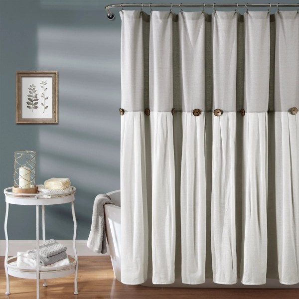 gray and white button accent linen shower curtain