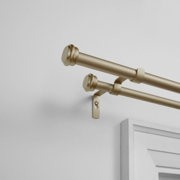 gold topper double curtain rod 120 in