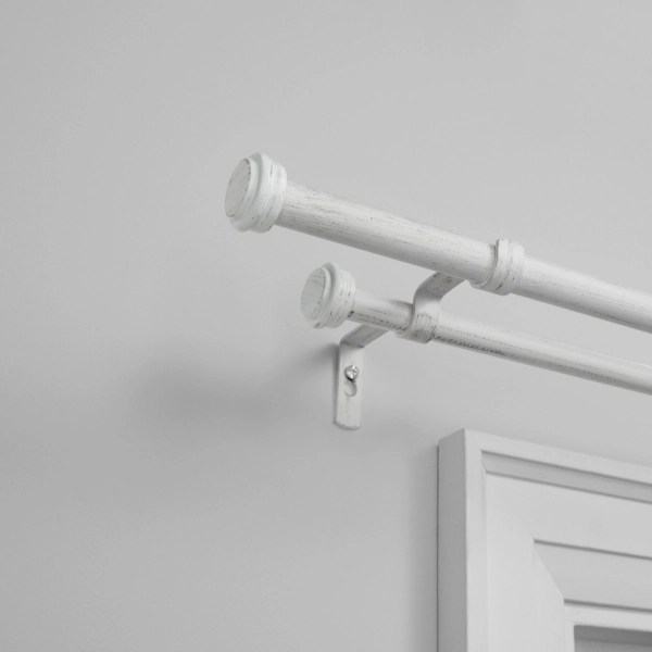white topper double curtain rod 120 in