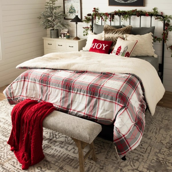 red plaid and sherpa 3 pc queen comforter set