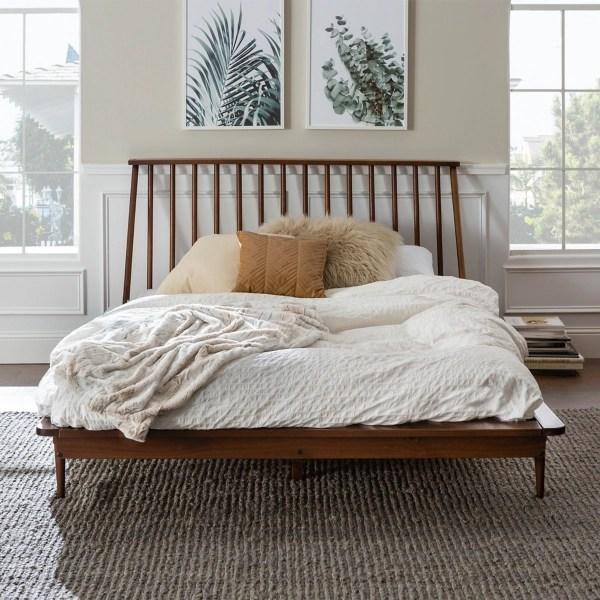 walnut mid century modern queen bed frame