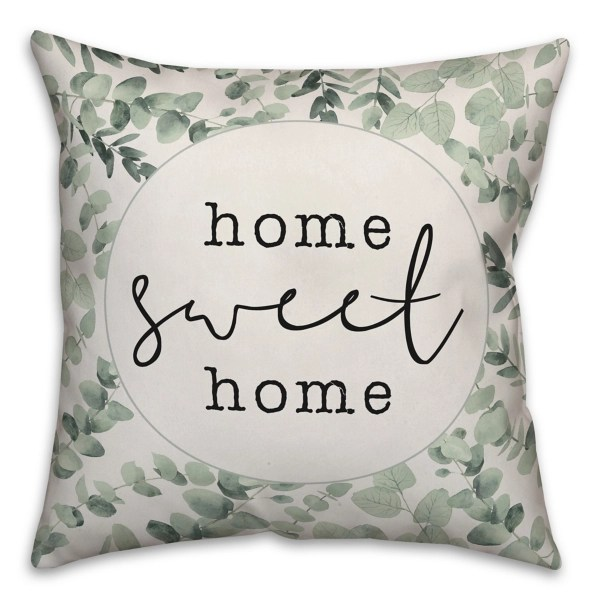 home sweet home green leaf pillow