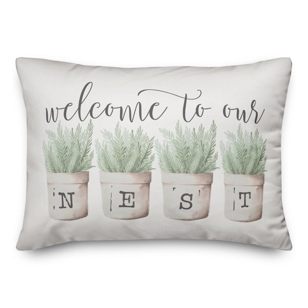 welcome to our nest pillow