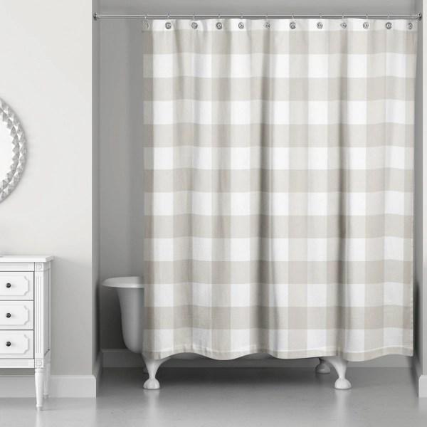 tan buffalo check shower curtain