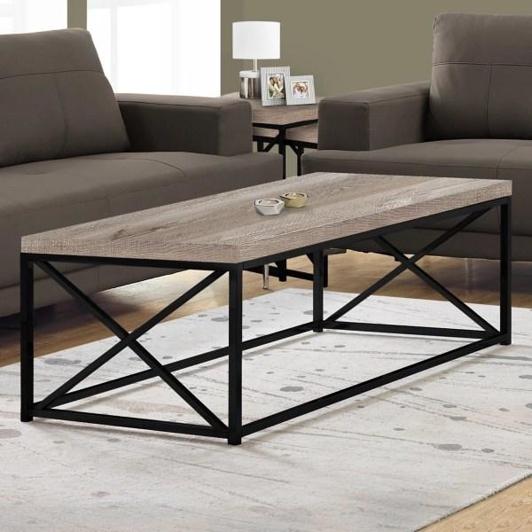 taupe mason wood coffee table with metal base