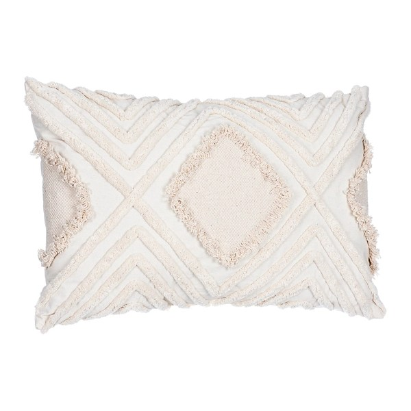 ivory oblong diamond tufted accent pillow