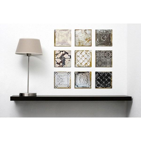 vintage tin tiles canvas art prints set of 9