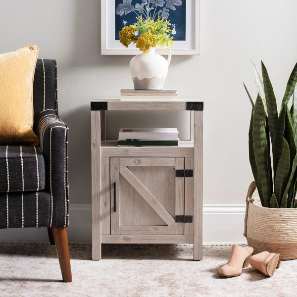 natural wood farmhouse end table