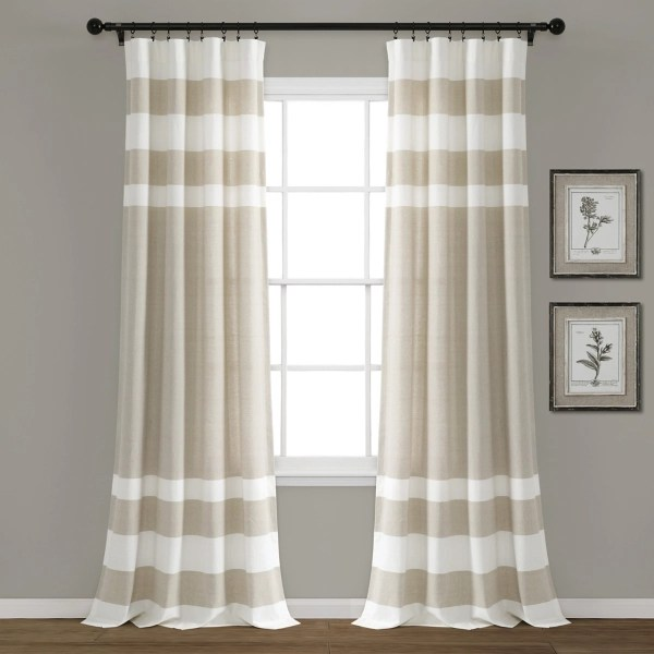 taupe cape cod stripe curtain panel set 84 in