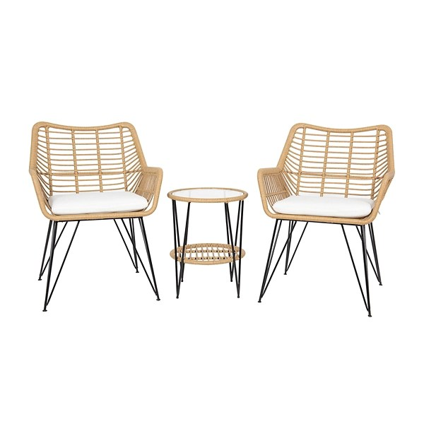 rattan willow 3 pc patio set with cushions
