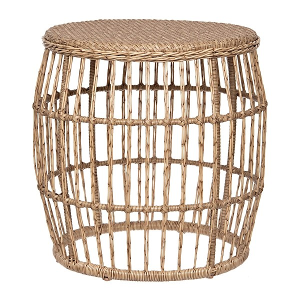 natural wicker outdoor side table
