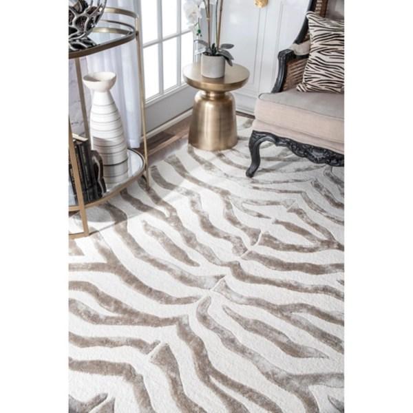 zebra hand tufted plush round area rug 8x10